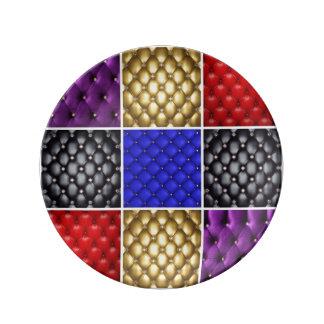 Couro plissado colorido & colagem de Bling Louça De Jantar