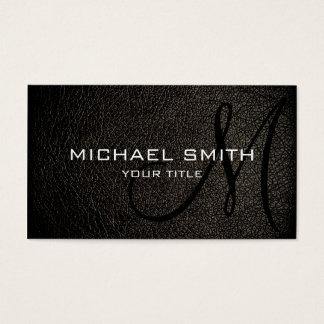 Couro preto cartão de visitas