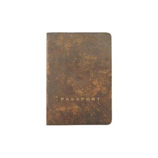 Couro velho capa para passaporte