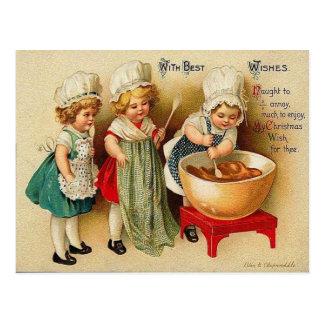 Cozendo um cartão do vintage do pudim de ameixa do