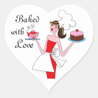 """""""Cozido com etiquetas do coração da diva do amor"""" Adesivo Coração"""