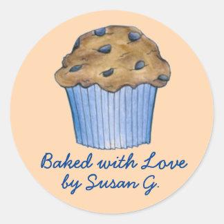 Cozido com etiquetas personalizadas amor do muffin