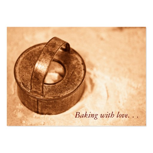 Cozimento com amor. cortador do biscoito modelo de cartões de visita