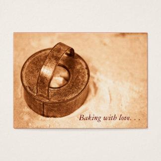 Cozimento com amor. cortador do biscoito cartão de visitas