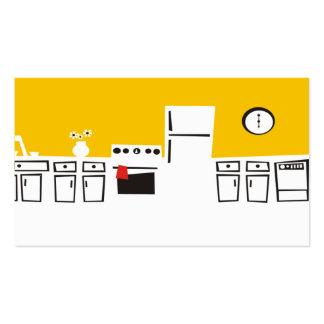 Cozinha branca retro que cozinha o cartão de visit