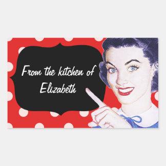 cozinha da mulher apontando dos anos 50 adesivo retangular