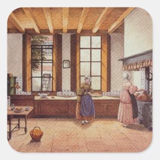 Cozinha do hotel de Zwijnshoofd em Arnhem, 1838 Adesivo Quadrado