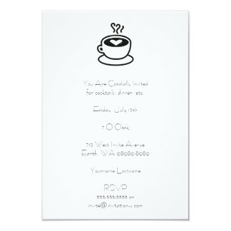 Cozinhando o copo de café com design do coração convite 8.89 x 12.7cm