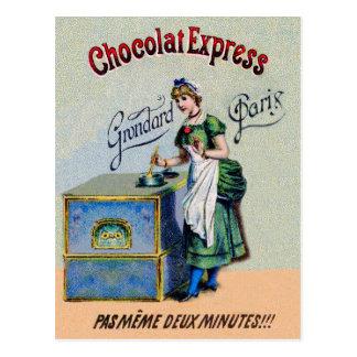Cozinhar da propaganda do chocolate do vintage cartão postal