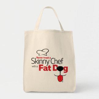 Cozinheiro chefe com cão gordo - o bolsa do