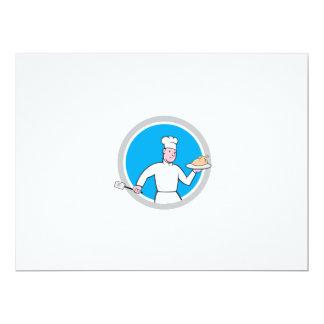 Cozinheiro chefe com desenhos animados do círculo convites personalizados