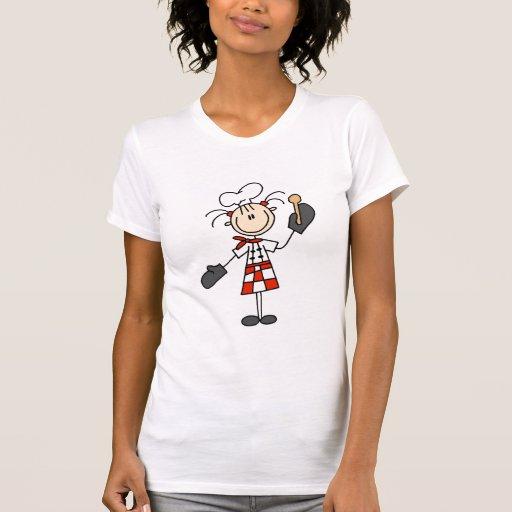 Cozinheiro chefe fêmea com o camiseta e os present