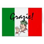 Cozinheiro chefe Grazie-Obrigado-Italiano Cartoes