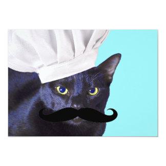 Cozinheiro chefe italiano, gato preto convite 12.7 x 17.78cm