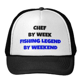 Cozinheiro chefe pela legenda da pesca da semana e bone