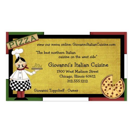 Cozinheiro chefe que serve a pizza quente modelos cartão de visita