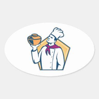 Cozinheiro do cozinheiro chefe que mantem o pote adesivos ovais