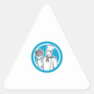 Cozinheiro do cozinheiro chefe que sustenta o pote adesivo triângulo