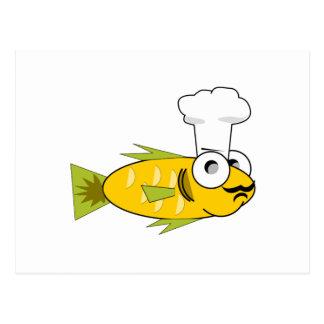 Cozinheiro dos peixes dos desenhos animados cartao postal