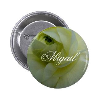 Crachá conhecido de flor branca de Abigail Bóton Redondo 5.08cm