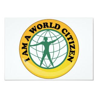 Crachá do cidadão do mundo pela autoridade de convite 8.89 x 12.7cm