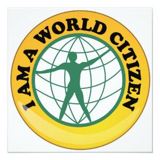 Crachá do cidadão do mundo pela autoridade de convite quadrado 13.35 x 13.35cm