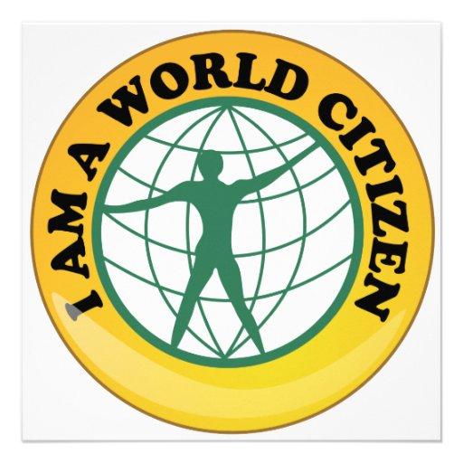 Crachá do cidadão do mundo pela autoridade de serv convite personalizado