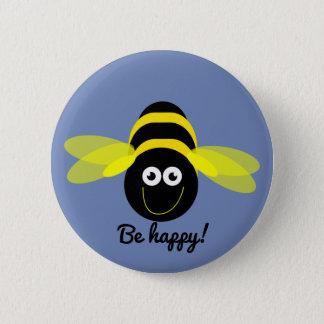 Crachá feliz do botão da abelha dos desenhos bóton redondo 5.08cm
