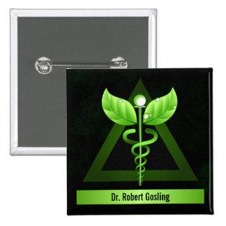 Crachá médico do Caduceus da medicina alternativa Boton