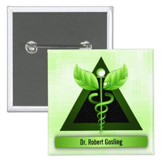 Crachá médico do símbolo do Caduceus da medicina Bóton Quadrado 5.08cm