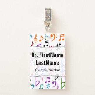 Crachá Muitos notas e símbolos coloridos da música; Nome