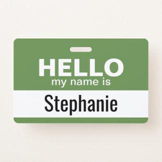 Crachá Olá! meu nome é - personalizado - pode mudar a cor