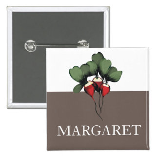 crachá vegetal do botão do nome de etiqueta do coz bóton quadrado 5.08cm