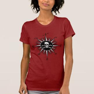 Crânio 1 do rosa de compasso camisetas