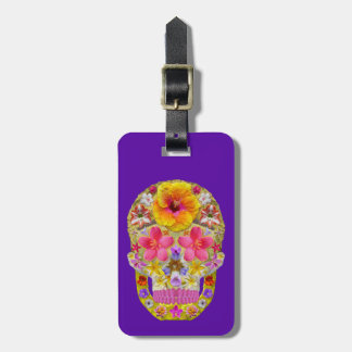Crânio 4 da flor - tropical etiqueta de bagagem