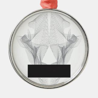 Crânio abstrato do urso ornamento redondo cor prata