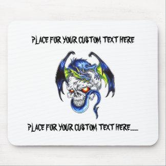 Crânio azul do dragão do símbolo legal do tatuagem mouse pad