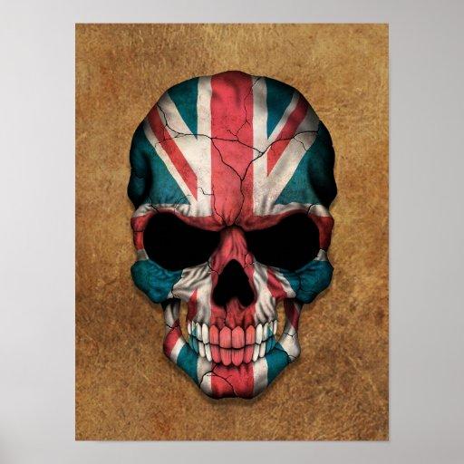 Crânio britânico envelhecido e vestido da bandeira pôsteres