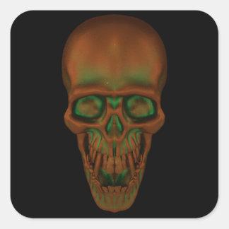 Crânio bronzeado adesivo quadrado