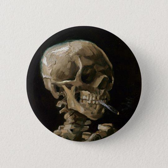 Crânio com arte ardente de Vincent van Gogh do Bóton Redondo 5.08cm