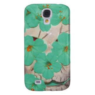 Crânio com as flores esverdeados macias galaxy s4 covers