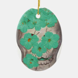 Crânio com as flores esverdeados macias ornamento de cerâmica oval