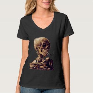 Crânio com um cigarro ardente por Van Gogh Camiseta