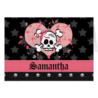 Crânio cor-de-rosa cartões de nota personalizados