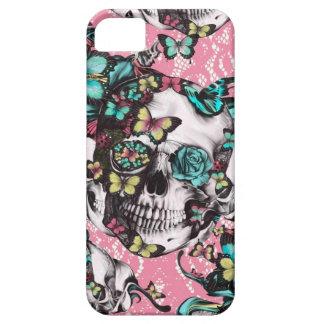 Crânio cor-de-rosa da borboleta no laço capa para iPhone 5