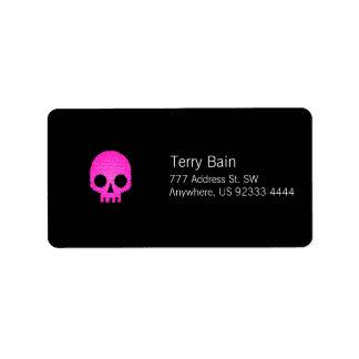 Crânio cor-de-rosa do mosaico etiqueta de endereço