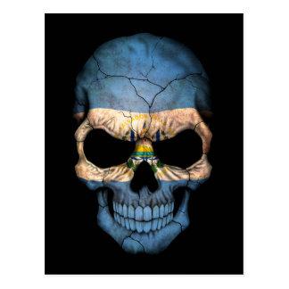 Crânio customizável da bandeira de El Salvador Cartão Postal