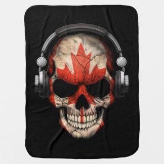 Crânio customizável do DJ do canadense com fones Cobertor De Bebe