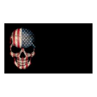 Crânio da bandeira americana no preto cartoes de visitas