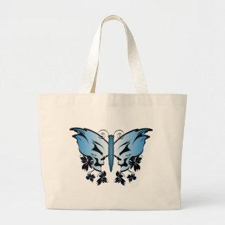 Crânio da borboleta - azul bolsa para compras